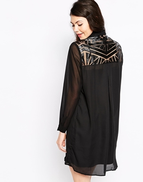 photo Shirt Dress with Geo Panels by Pippa Lynn, color Black - Image 2