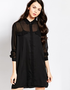 photo Shirt Dress with Geo Panels by Pippa Lynn, color Black - Image 1