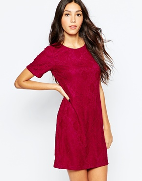 photo Anne Dress In Lace by Poppy Lux, color Berry - Image 1