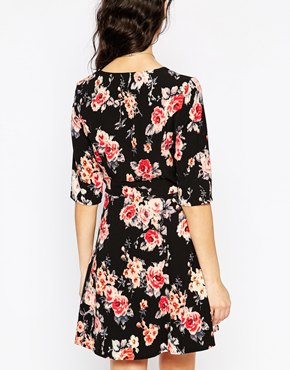 photo Hatty Fit and Flare Dress by Poppy Lux, color Black Multi - Image 2
