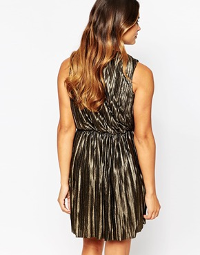 photo Lucinda Metallic Dress by Poppy Lux, color Black Gold - Image 2