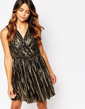 photo Lucinda Metallic Dress by Poppy Lux, color Black Gold - Image 1