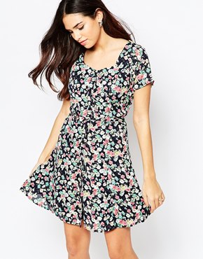photo Olivia Skater Dress In Ditsy Floral Print by Poppy Lux, color Multi - Image 1