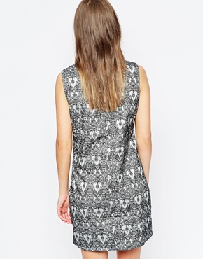 photo Prudence Printed Dress by Poppy Lux, color Silver Black - Image 2