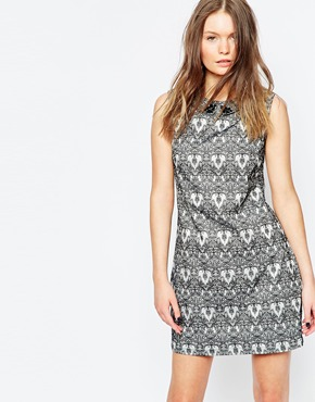 photo Prudence Printed Dress by Poppy Lux, color Silver Black - Image 1