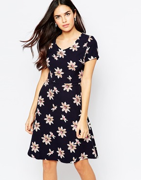photo Rosemary Tea Dress In Daisy Print by Poppy Lux, color Navy Multi - Image 1