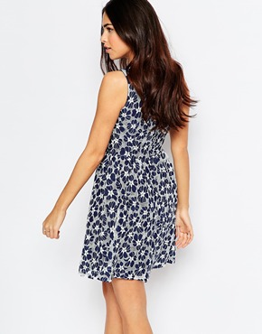 photo Suzie Skater Dress In Lace by Poppy Lux, color Navy White - Image 2