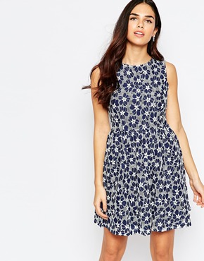 photo Suzie Skater Dress In Lace by Poppy Lux, color Navy White - Image 1