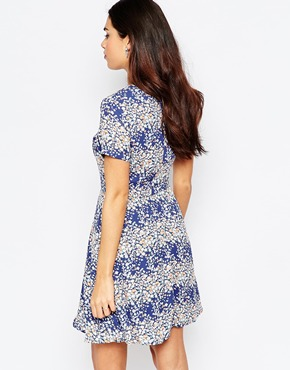 photo Sybil Skater Dress In Floral Print by Poppy Lux, color Blue Multi - Image 2