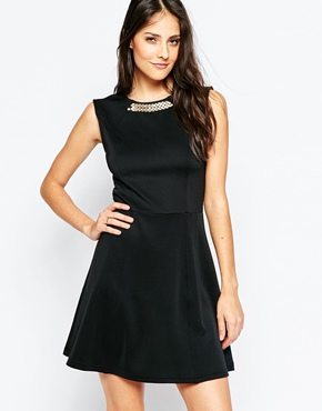 photo Theodora Dress with Necklace Detail by Poppy Lux, color Black Gold - Image 1