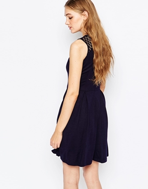 photo Violetta Fit and Flare Dress with Lace Insert by Poppy Lux, color Navy - Image 2