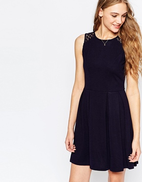 photo Violetta Fit and Flare Dress with Lace Insert by Poppy Lux, color Navy - Image 1