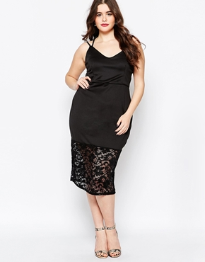 photo Dress with Lace Hem and Cross Back by Praslin Plus, color Black - Image 1