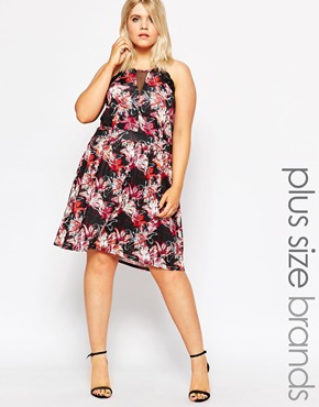 photo Skater Dress with Lace Trim and Mesh Insert In Floral Print by Praslin Plus, color Multi - Image 1