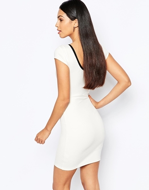 photo Bodycon Dress with Cross Front by Quontum, color Cream Black - Image 2