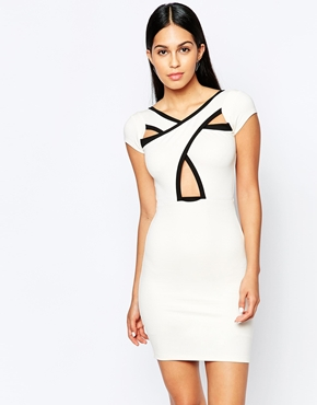 photo Bodycon Dress with Cross Front by Quontum, color Cream Black - Image 1