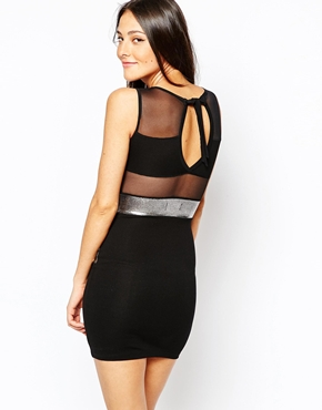 photo Bodycon Dress with Mesh and Metallic Inserts by Quontum, color Black - Image 2