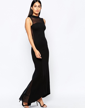 photo Fishtail Maxi Dress with Mesh Back by Quontum, color Black - Image 2