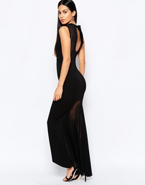 photo Fishtail Maxi Dress with Mesh Back by Quontum, color Black - Image 1
