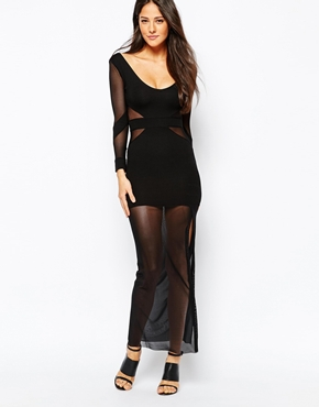 photo Maxi Dress with Mesh Inserts and Sheer Skirt by Quontum, color Black - Image 1
