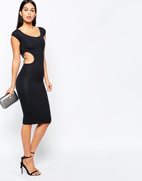 photo Midi Dress with Cross Back Straps by Quontum, color Black - Image 2