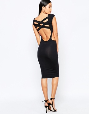 photo Midi Dress with Cross Back Straps by Quontum, color Black - Image 1