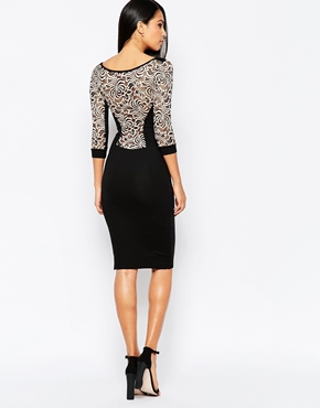 photo Midi Dress with Lace Panel by Quontum, color Black - Image 2