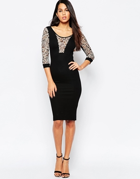 photo Midi Dress with Lace Panel by Quontum, color Black - Image 1