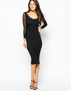 photo Midi Dress with Mesh Insert Panels by Quontum, color Black - Image 2