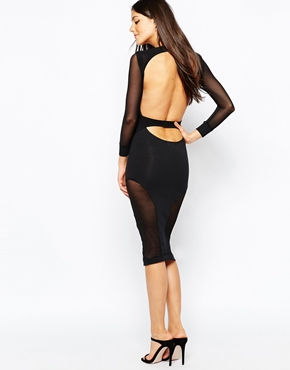 photo Midi Dress with Mesh Insert Panels by Quontum, color Black - Image 1