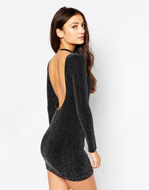 photo Bodycon Dress in Glitter Fabric with Scoop Back by Rare, color Black - Image 1