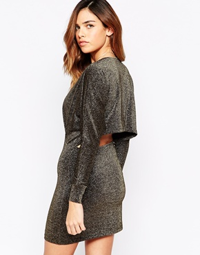 photo Cape Back Dress in Glitter Fabric by Rare, color Black Gold - Image 1