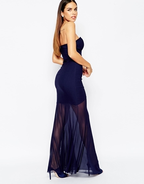 photo Fishtail Maxi Dress with Sheer Skirt by Rare, color Navy - Image 2