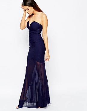 photo Fishtail Maxi Dress with Sheer Skirt by Rare, color Navy - Image 1