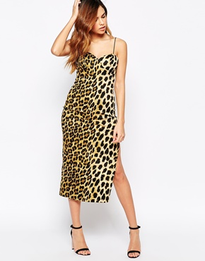 photo Leopard Mid Dress with Deep Side Split by Rare, color Leopard - Image 1