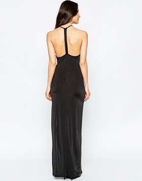 photo Maxi Dress with Embellished Neck Trim by Rare, color Black - Image 2