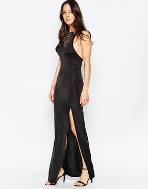 photo Maxi Dress with Embellished Neck Trim by Rare, color Black - Image 1
