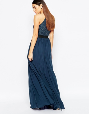 photo Maxi Dress with Lace Top and Skirt in Glitter Fabric by Rare, color Navy - Image 2