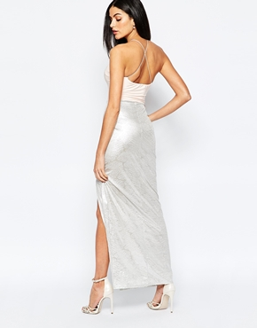 photo Maxi Dress with Metallic Skirt by Rare, color Nude Silver - Image 2