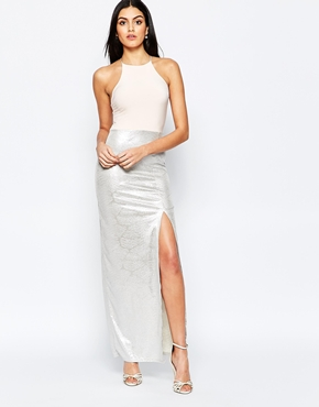 photo Maxi Dress with Metallic Skirt by Rare, color Nude Silver - Image 1