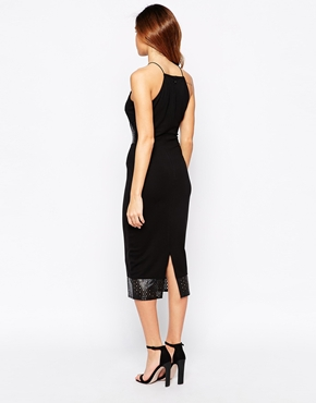 photo Midi Dress with PU Details by Rare, color Black - Image 2