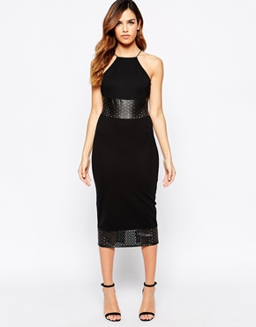 photo Midi Dress with PU Details by Rare, color Black - Image 1
