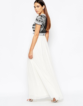 photo Maxi Dress with Embellished Lace by Rare Opulence, color Black White - Image 2