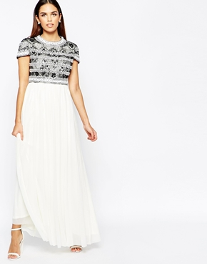 photo Maxi Dress with Embellished Lace by Rare Opulence, color Black White - Image 1