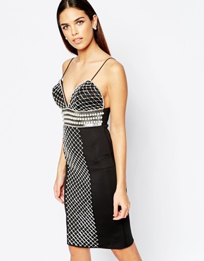 photo Midi Dress with Pearl and Bugle Bead Embellishment by Rare Opulence, color Black - Image 1