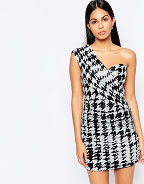 photo One Shoulder Dress in Monochrome Sequins by Rare Opulence, color Black - Image 1