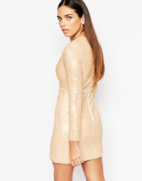 photo Plunge Dress in All Over Sequins by Rare Opulence, color Nude - Image 2