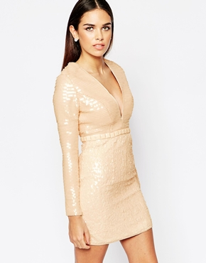 photo Plunge Dress in All Over Sequins by Rare Opulence, color Nude - Image 1