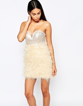 photo Sequin Bust Dress with Feather Skirt by Rare Opulence, color Nude Cream - Image 1