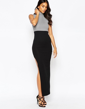 photo Stripe Top Maxi Dress with Side Split by Rare, color Black White - Image 1